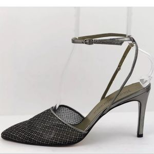 Yves Saint Laurent Sparkly Pewter Mesh Heels